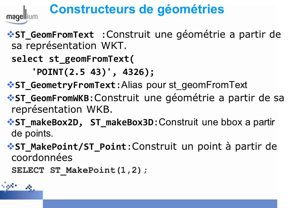 ST_GeomFromText :Construit une géométrie a partir de sa représentation WKT. select st_geomFromText( 'POINT(2.5 43)', 4326); ST_GeometryFromText: Alias
