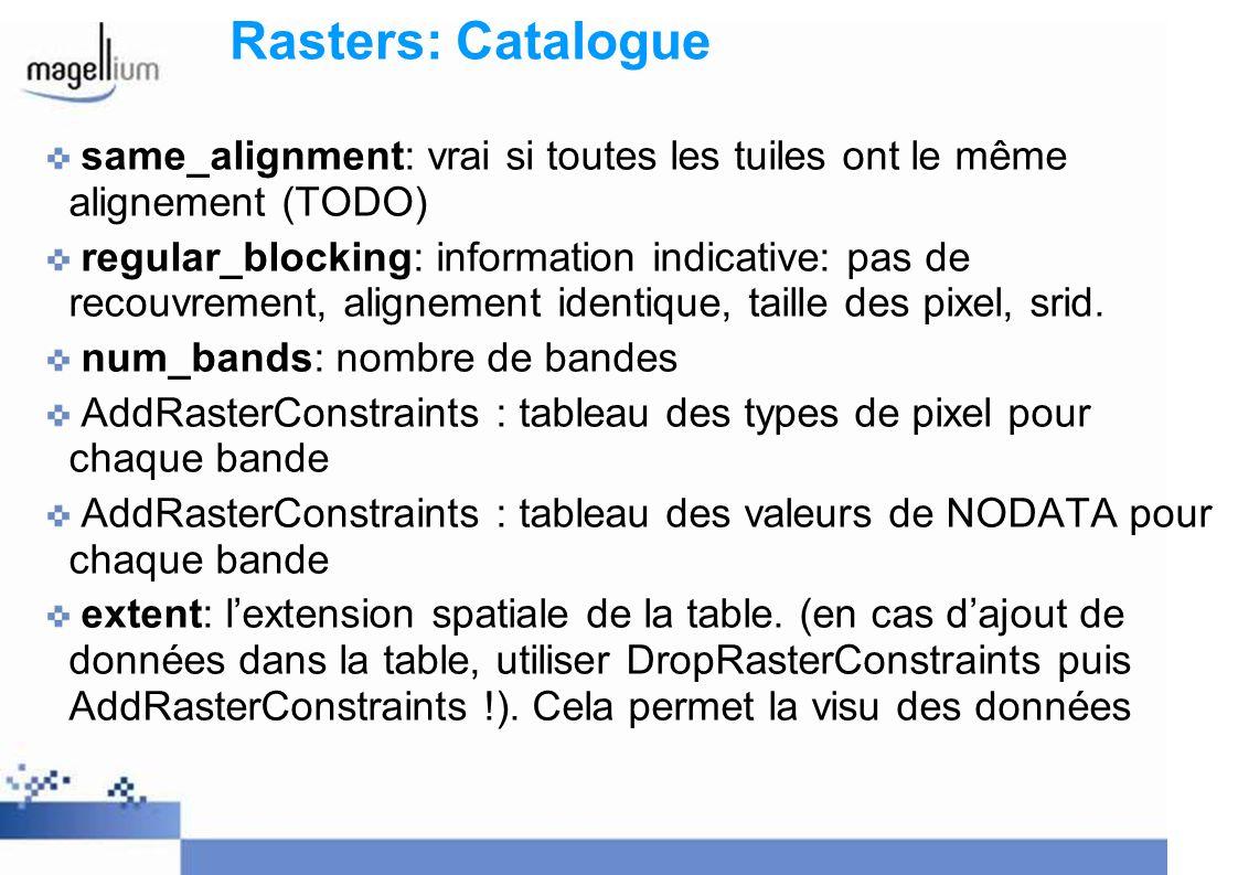 Rasters: Catalogue same_alignment: vrai si toutes les tuiles ont le même alignement (TODO) regular_blocking: information indicative: pas de recouvreme