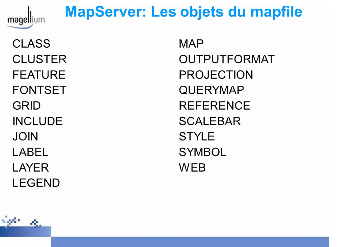 MapServer: Les objets du mapfile CLASS CLUSTER FEATURE FONTSET GRID INCLUDE JOIN LABEL LAYER LEGEND MAP OUTPUTFORMAT PROJECTION QUERYMAP REFERENCE SCALEBAR STYLE SYMBOL WEB