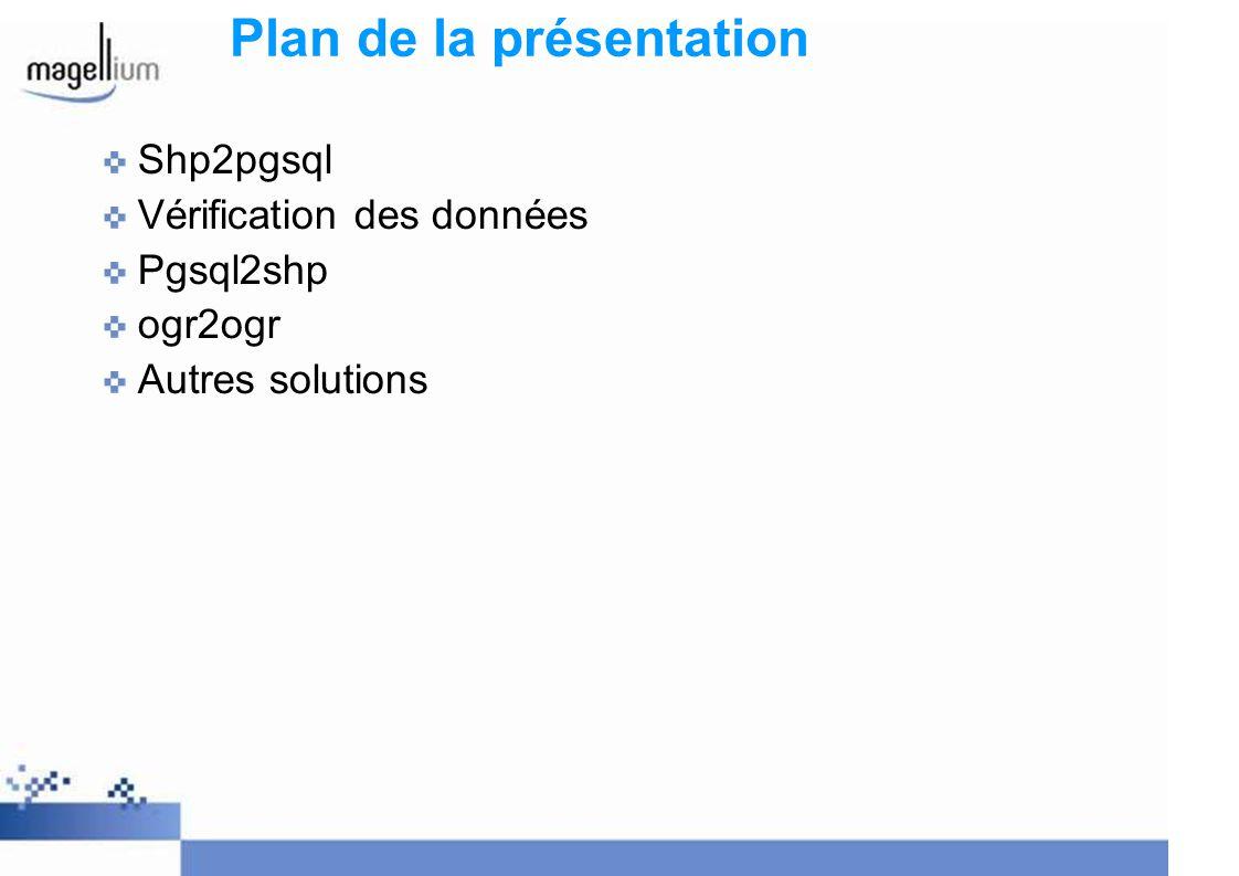 Plan de la présentation Shp2pgsql Vérification des données Pgsql2shp ogr2ogr Autres solutions