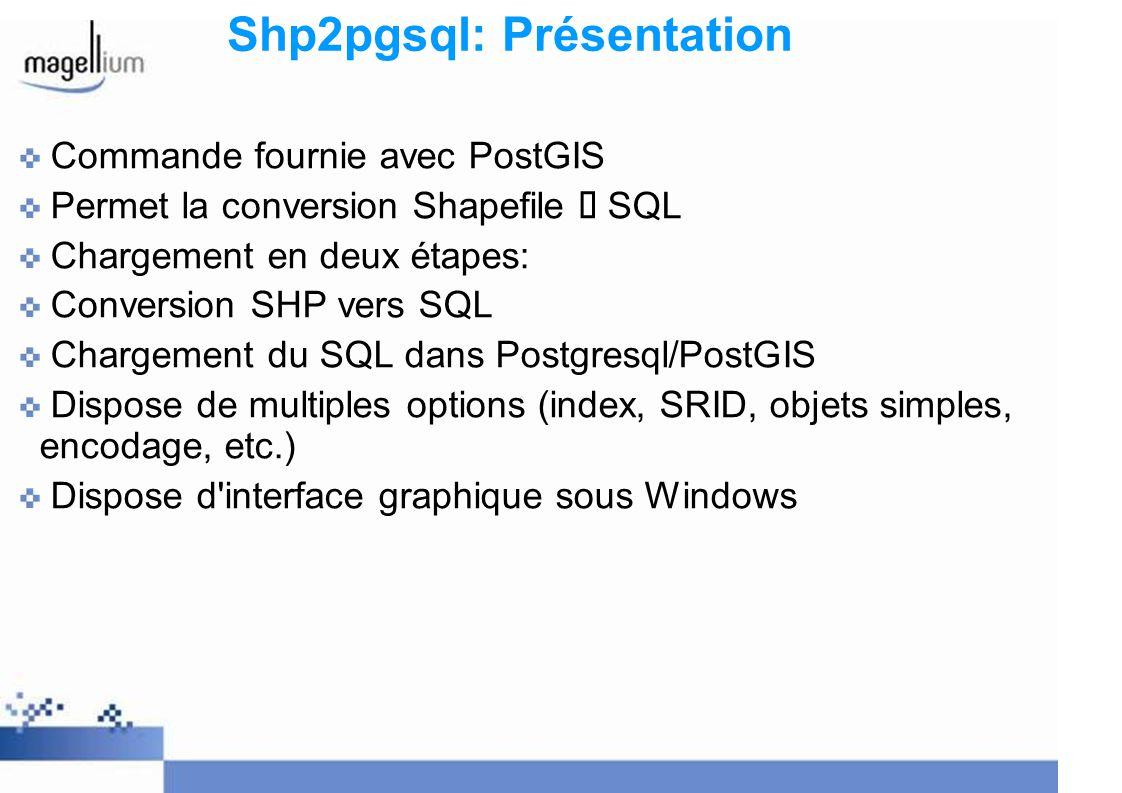 Shp2pgsql: Présentation Commande fournie avec PostGIS Permet la conversion Shapefile SQL Chargement en deux étapes: Conversion SHP vers SQL Chargement