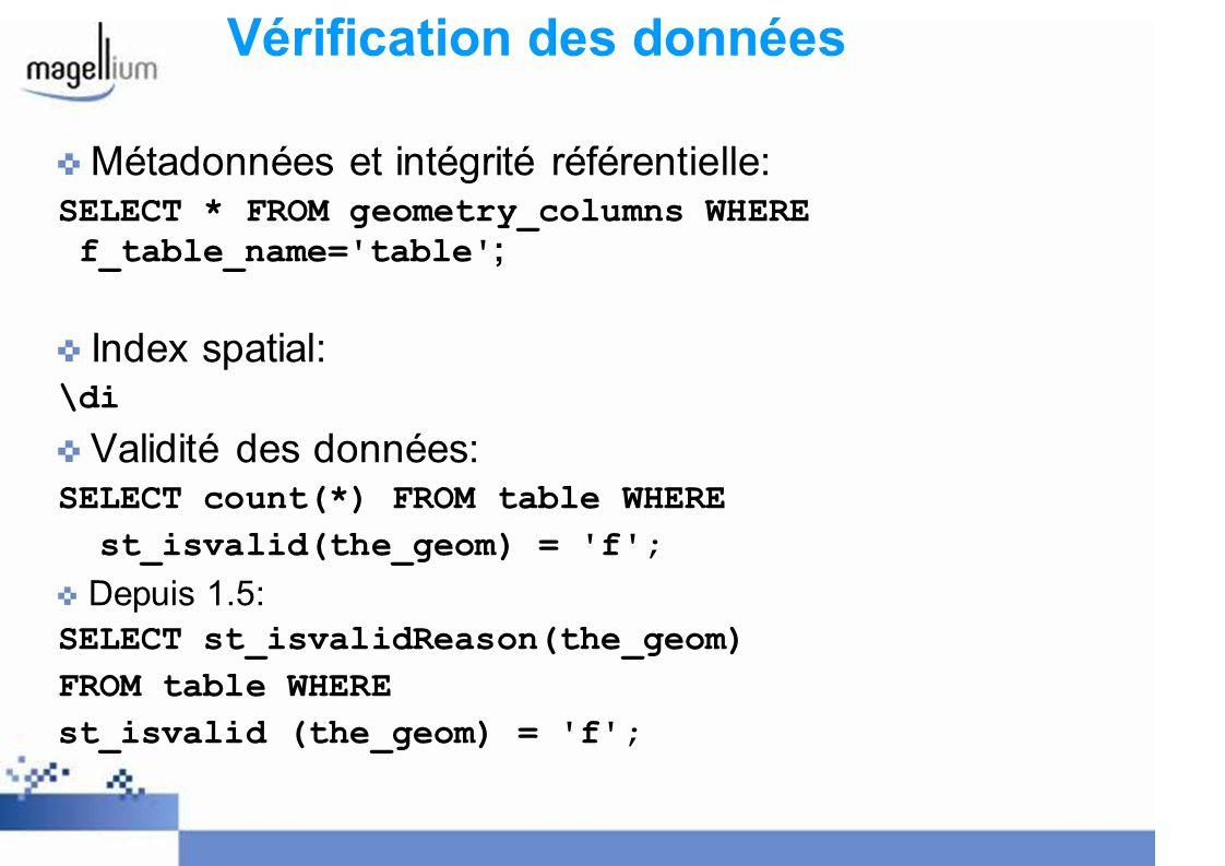 Vérification des données Métadonnées et intégrité référentielle: SELECT * FROM geometry_columns WHERE f_table_name='table' ; Index spatial: \di Validi