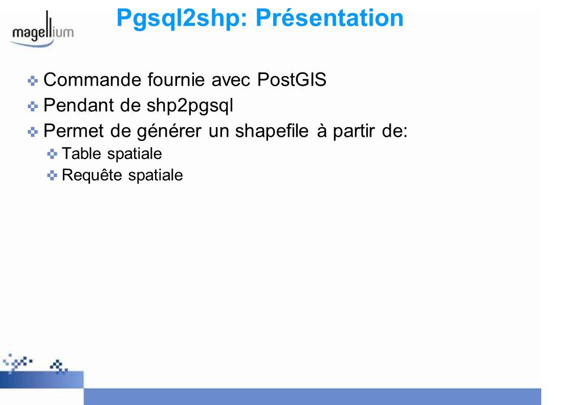 Pgsql2shp: Présentation Commande fournie avec PostGIS Pendant de shp2pgsql Permet de générer un shapefile à partir de: Table spatiale Requête spatiale