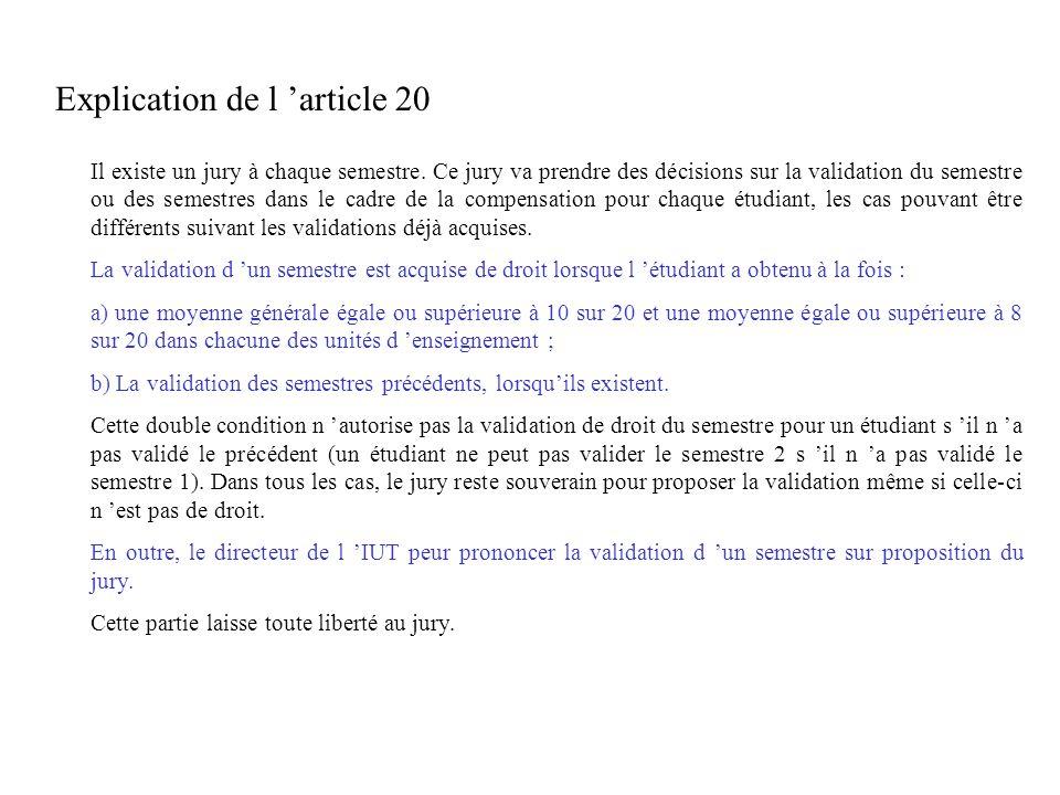 Explication de l article 20 Il existe un jury à chaque semestre. Ce jury va prendre des décisions sur la validation du semestre ou des semestres dans