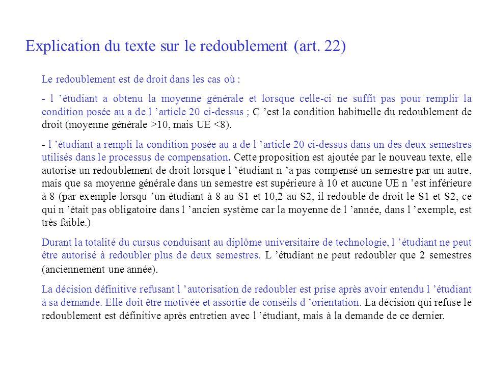 Explication du texte sur le redoublement (art. 22) Le redoublement est de droit dans les cas où : - l étudiant a obtenu la moyenne générale et lorsque