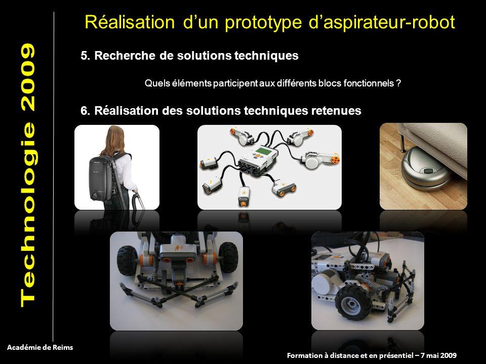 Formation à distance et en présentiel – 7 mai 2009 Académie de Reims 5. Recherche de solutions techniques Quels éléments participent aux différents bl