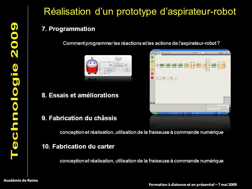 Formation à distance et en présentiel – 7 mai 2009 Académie de Reims 7. Programmation Comment programmer les réactions et les actions de laspirateur-r
