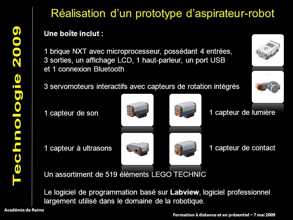 Formation à distance et en présentiel – 7 mai 2009 Académie de Reims Une boîte inclut : 1 brique NXT avec microprocesseur, possédant 4 entrées, 3 sort