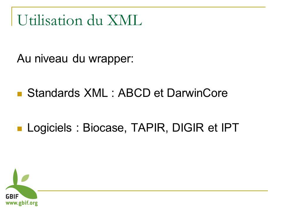 Utilisation du XML Au niveau du wrapper: Standards XML : ABCD et DarwinCore Logiciels : Biocase, TAPIR, DIGIR et IPT