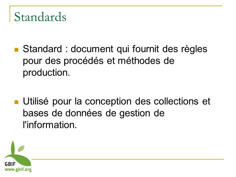 Standards Standard : document qui fournit des règles pour des procédés et méthodes de production.