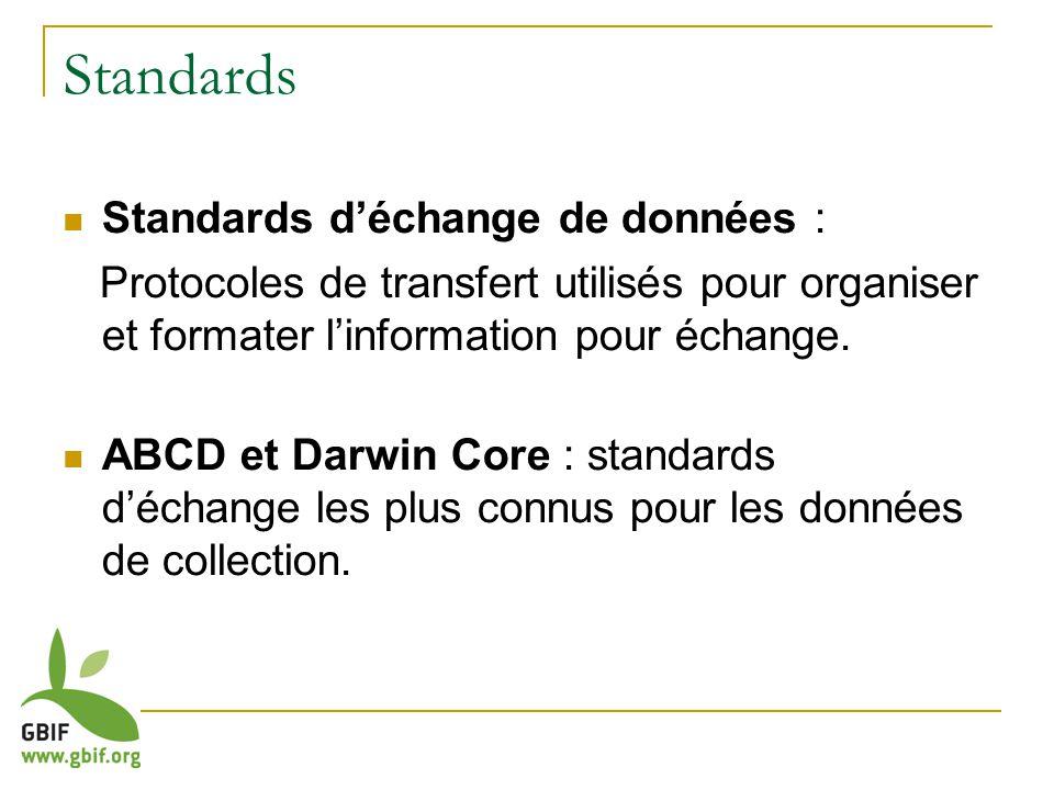 Standards Standards déchange de données : Protocoles de transfert utilisés pour organiser et formater linformation pour échange.