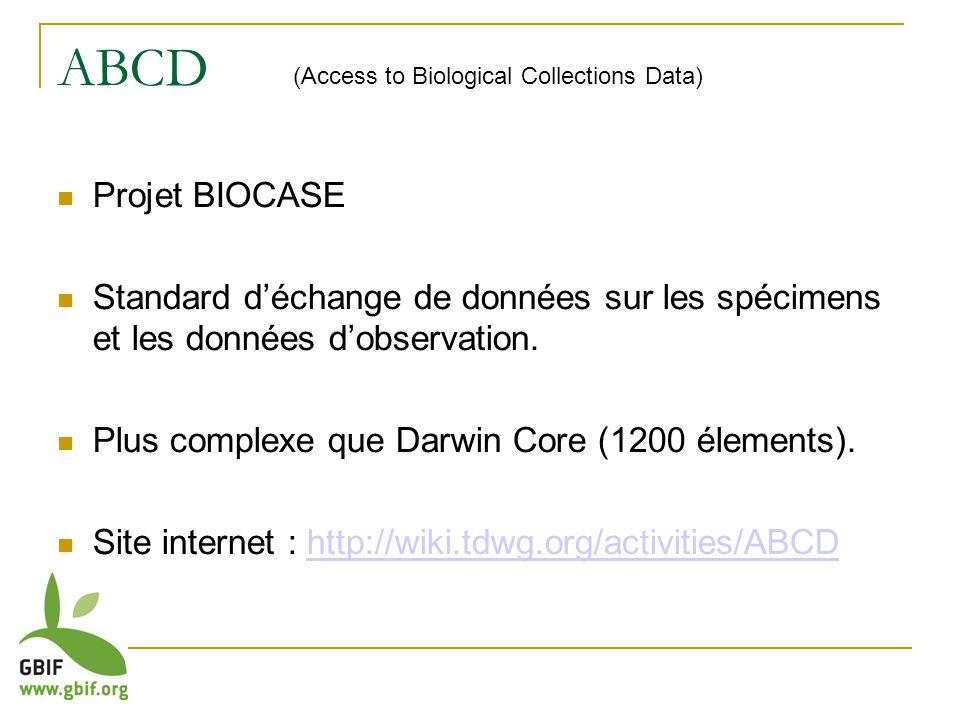 ABCD Projet BIOCASE Standard déchange de données sur les spécimens et les données dobservation.