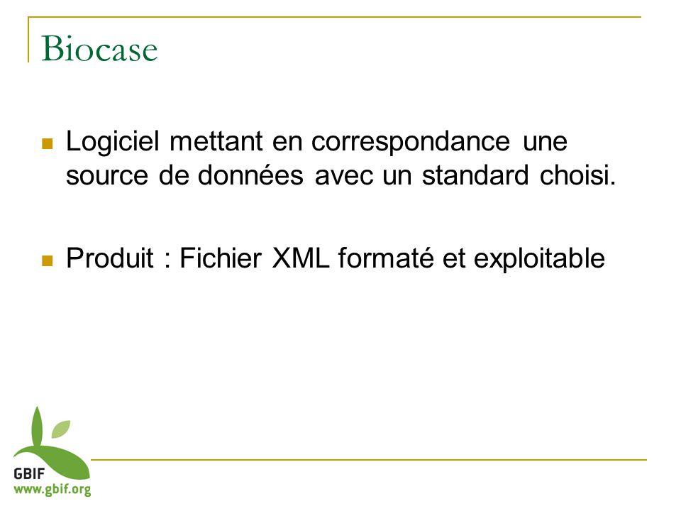 Biocase Logiciel mettant en correspondance une source de données avec un standard choisi.