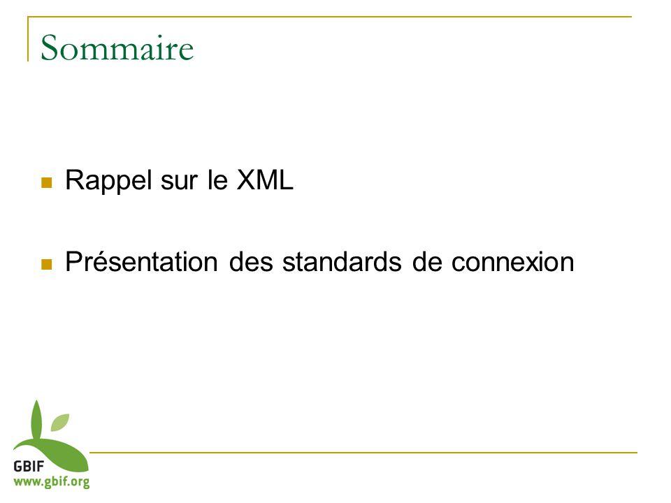 Sommaire Rappel sur le XML Présentation des standards de connexion