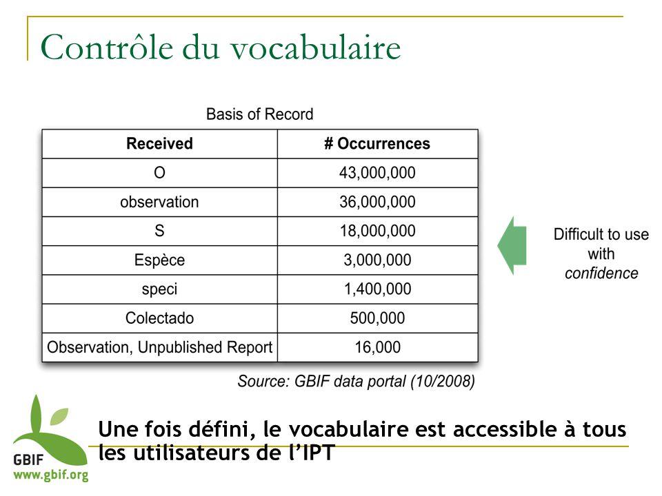 U Une fois défini, le vocabulaire est accessible à tous les utilisateurs de lIPT Contrôle du vocabulaire