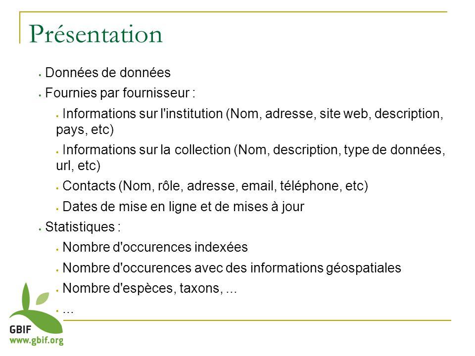 Avantages Données communes à l ensemble des données primaires Un seul enregistrement Informations sur les institutions d un pays
