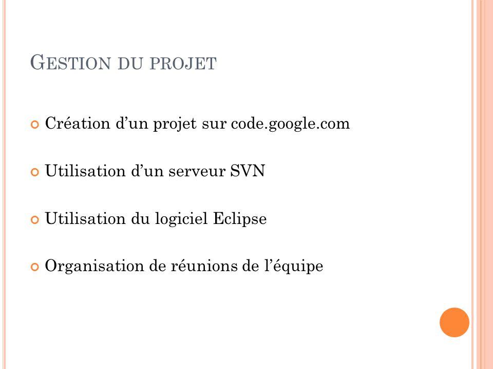 G ESTION DU PROJET Création dun projet sur code.google.com Utilisation dun serveur SVN Utilisation du logiciel Eclipse Organisation de réunions de léquipe