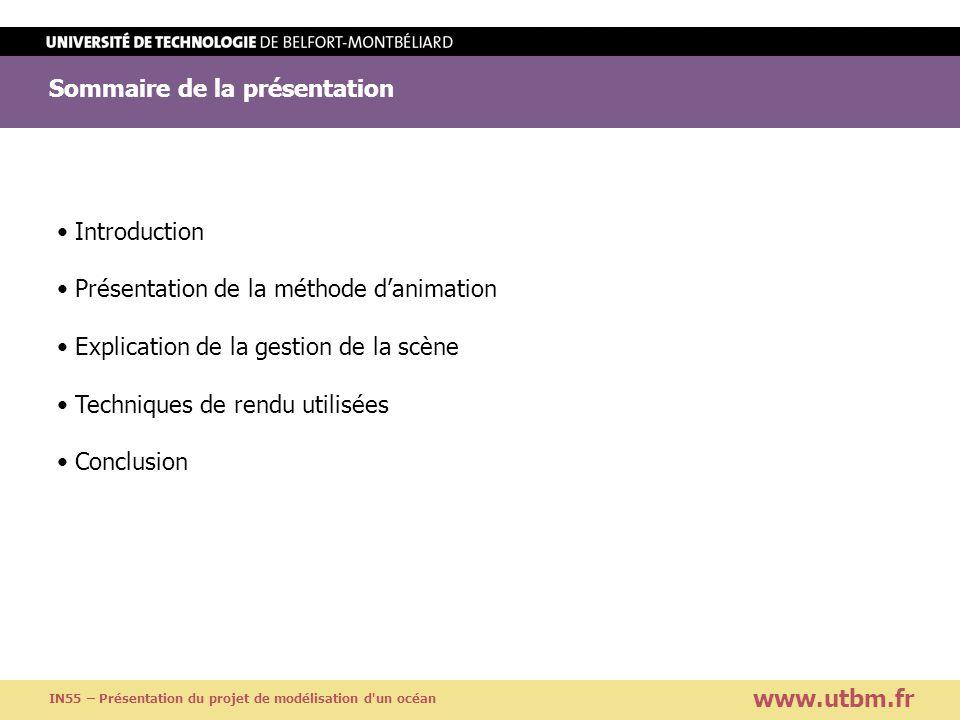 Sommaire de la présentation Titre de la présentation Titre suite www.utbm.fr IN55 – Présentation du projet de modélisation d'un océan Introduction Pré