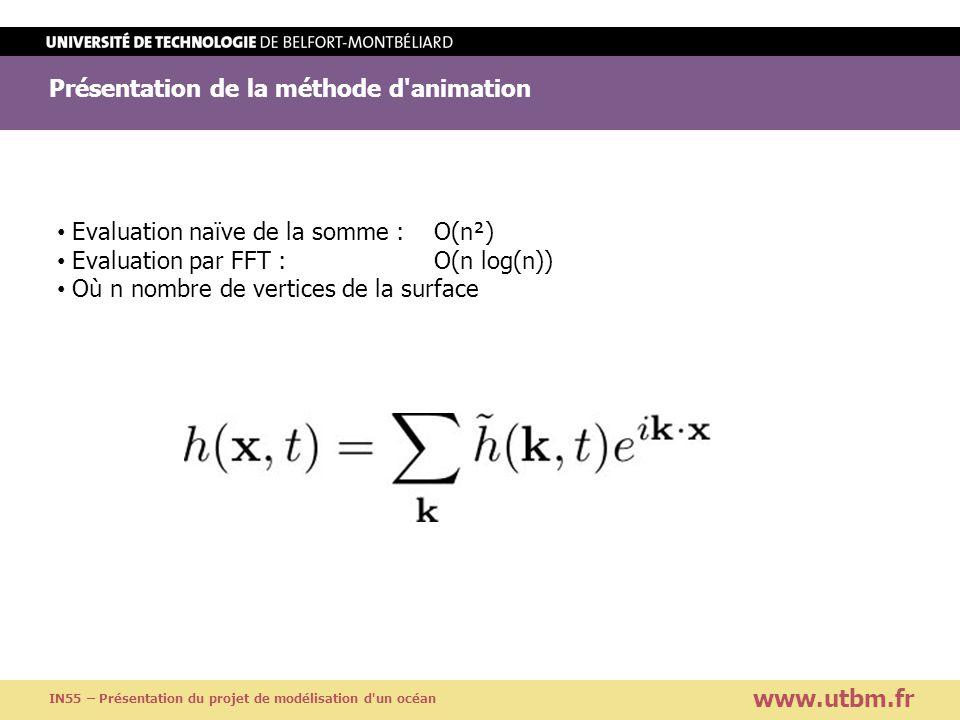 Présentation de la méthode d'animation www.utbm.fr IN55 – Présentation du projet de modélisation d'un océan Evaluation naïve de la somme : O(n²) Evalu