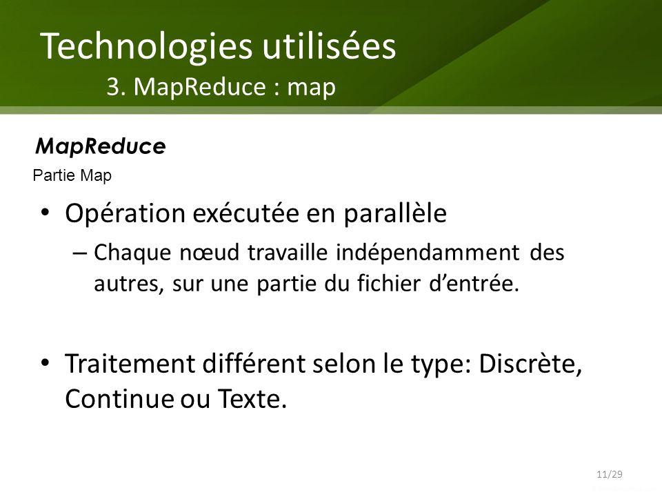Technologies utilisées 3. MapReduce : map Opération exécutée en parallèle – Chaque nœud travaille indépendamment des autres, sur une partie du fichier