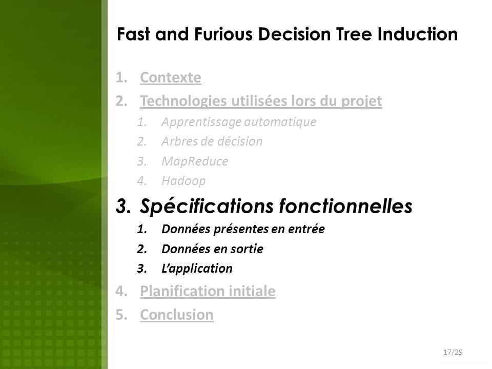 Fast and Furious Decision Tree Induction 1.Contexte 2.Technologies utilisées lors du projet 1.Apprentissage automatique 2.Arbres de décision 3.MapRedu