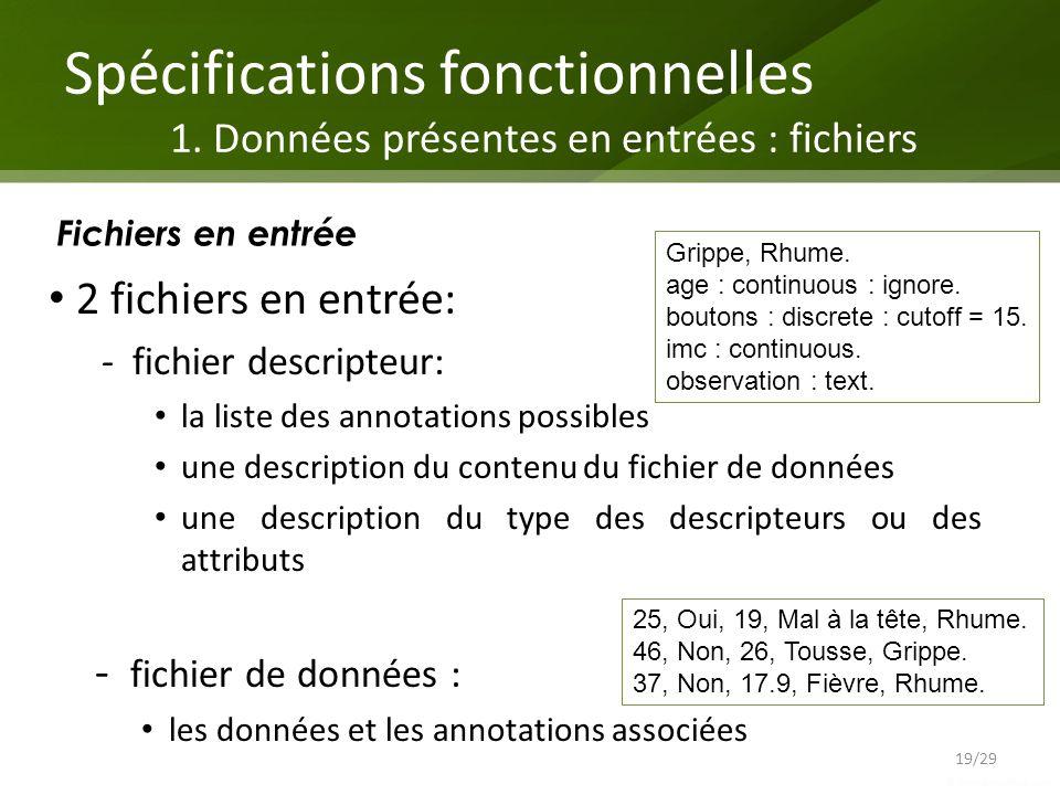 Spécifications fonctionnelles 1. Données présentes en entrées : fichiers 19/29 Fichiers en entrée 2 fichiers en entrée: - fichier descripteur: la list
