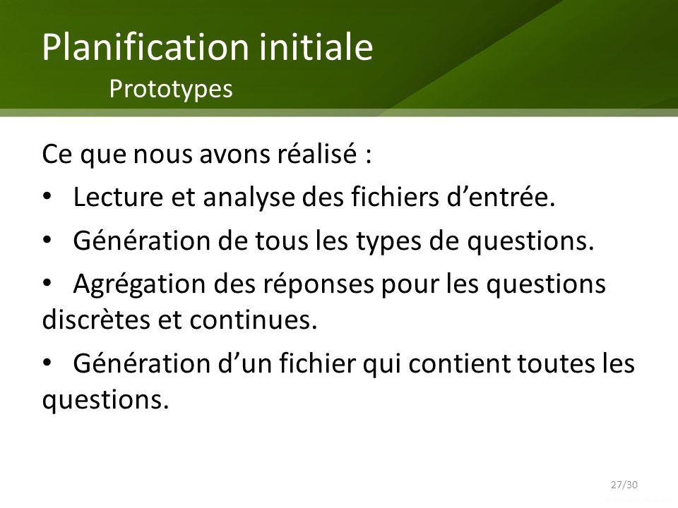 Planification initiale Prototypes 27/30 Ce que nous avons réalisé : Lecture et analyse des fichiers dentrée. Génération de tous les types de questions