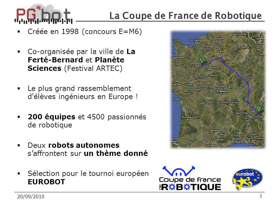 20/09/2010 La Coupe de France de Robotique Créée en 1998 (concours E=M6) Co-organisée par la ville de La Ferté-Bernard et Planète Sciences (Festival ARTEC) Le plus grand rassemblement d élèves ingénieurs en Europe .