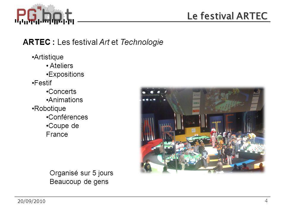 Le festival ARTEC 420/09/2010 ARTEC : Les festival Art et Technologie Artistique Ateliers Expositions Festif Concerts Animations Robotique Conférences Coupe de France Organisé sur 5 jours Beaucoup de gens