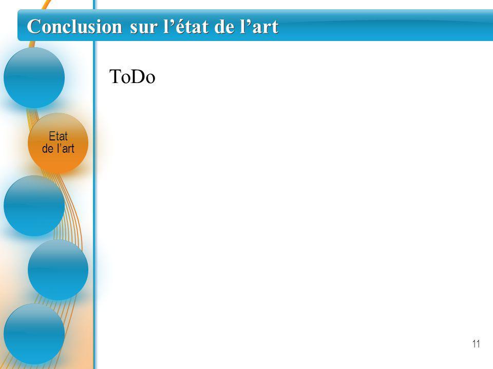 Conclusion sur létat de lart Etat de lart 11 ToDo