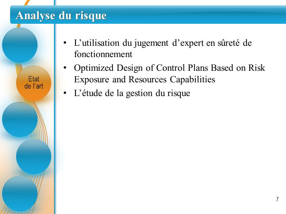 Gestion des plans de contrôle Etat de lart 8 Optimisation plan de contrôle : Article « An approach for operational risk evaluation and its link to control plan » Conférence « Operational risk evaluation and control plan design » Réduction nombre de contrôle : Optimizing Return on inspection trough defectivity smart sampling A novel approach to minimize the number of controls in the defectivity area