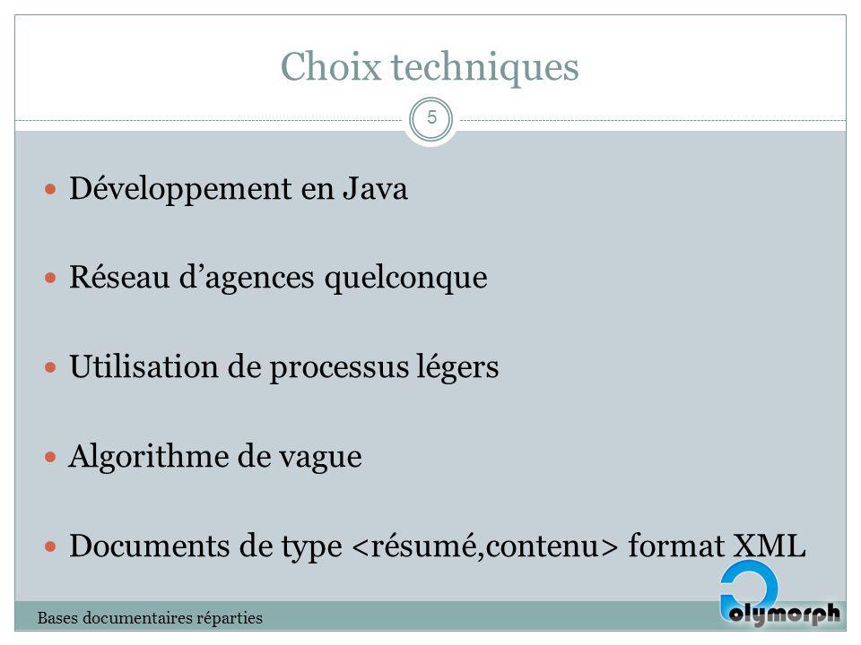 Choix techniques Développement en Java Réseau dagences quelconque Utilisation de processus légers Algorithme de vague Documents de type format XML Bas