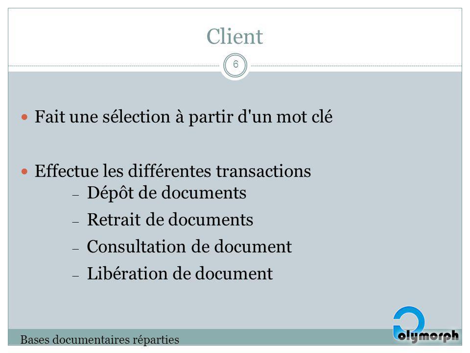 Client Fait une sélection à partir d'un mot clé Effectue les différentes transactions Dépôt de documents Retrait de documents Consultation de document