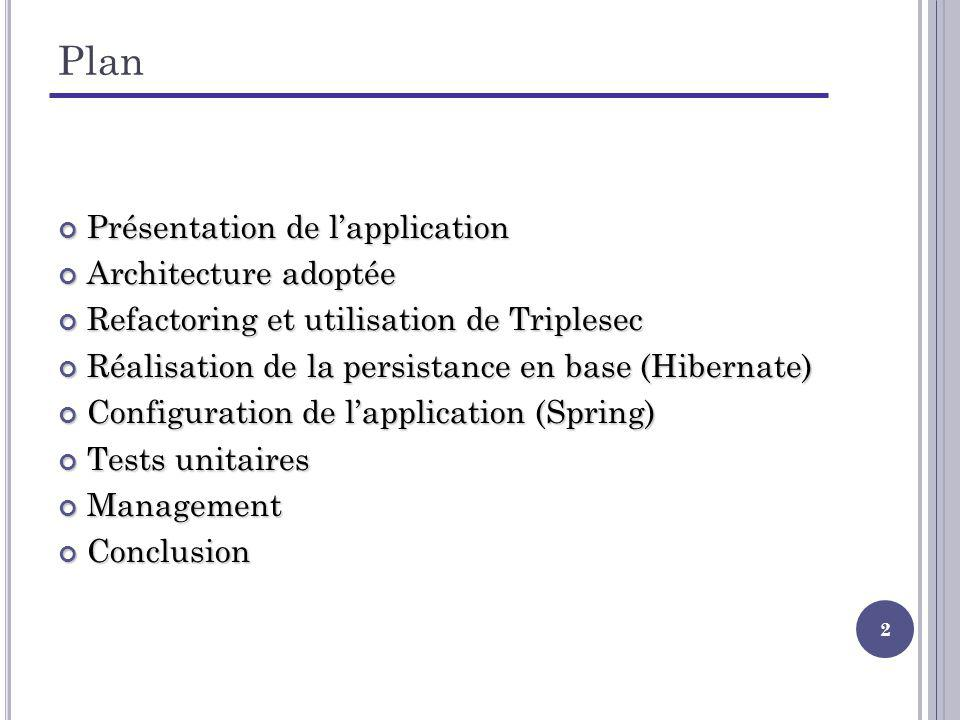 23 Refactoring – Exemple (5/5) private TriplesecPermissionDAO permissionDAO = new TriplesecPermissionDAO(); [...] public AdministeredEntityModel savePermission(PermissionModel oldPermission, PermissionModel newPermission) { return permissionDAO.save(oldPermission, newPermission); } public void deletePermission(PermissionModel permission) { permissionDAO.delete(permission); } [...] public void delete(PermissionModel permission) { [Code Triplesec pour la suppression] } public AdministeredEntityModel save(PermissionModel oldPermission, PermissionModel newPermission) { [Code Triplesec pour la sauvegarde] } [...] TriplesecPermissionDAO TriplesecSecurityManagementService