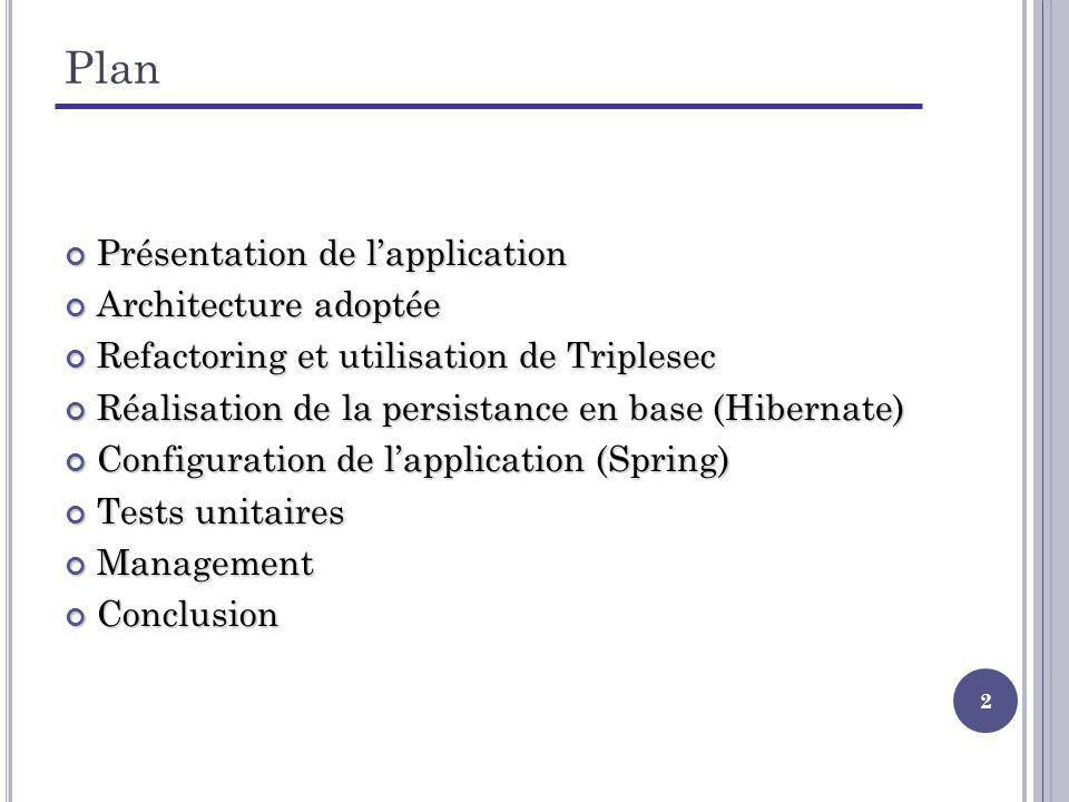 3 Plan Présentation de lapplication Présentation de lapplication Architecture adoptée Refactoring et utilisation de Triplesec Réalisation de la persistance en base (Hibernate) Configuration de lapplication (Spring) Tests unitaires Management Conclusion