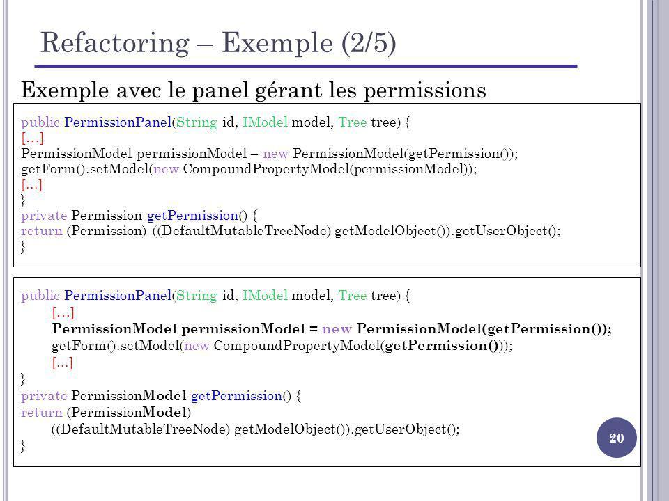 20 Refactoring – Exemple (2/5) public PermissionPanel(String id, IModel model, Tree tree) { […] PermissionModel permissionModel = new PermissionModel(