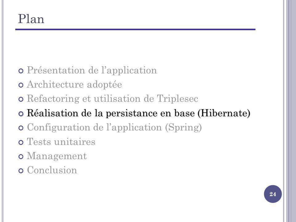 24 Plan Présentation de lapplication Architecture adoptée Refactoring et utilisation de Triplesec Réalisation de la persistance en base (Hibernate) Ré