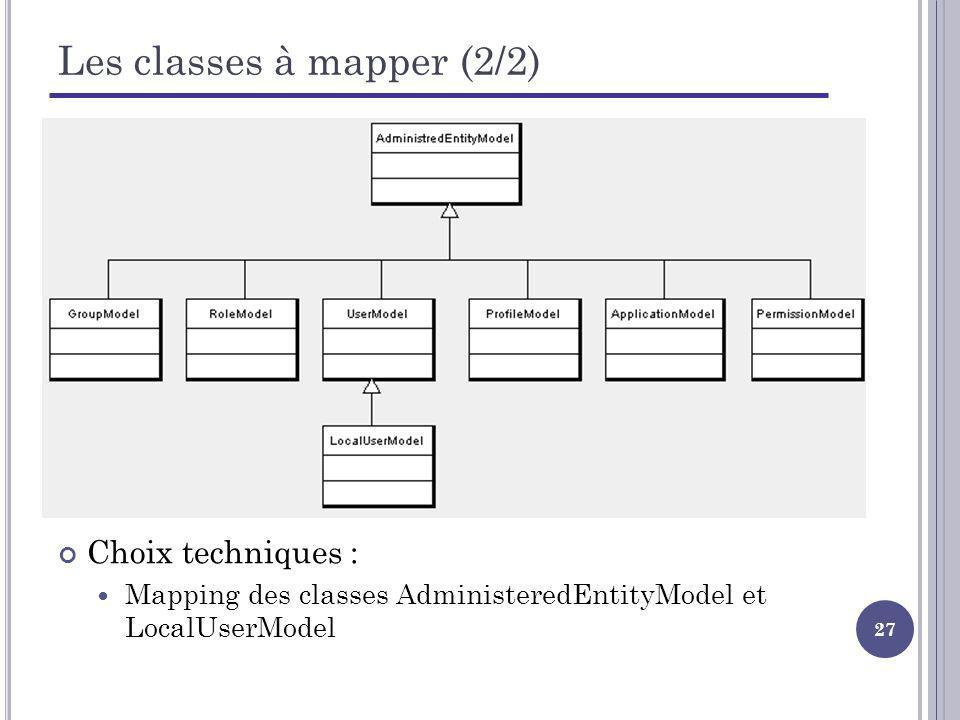 27 Les classes à mapper (2/2) Choix techniques : Mapping des classes AdministeredEntityModel et LocalUserModel