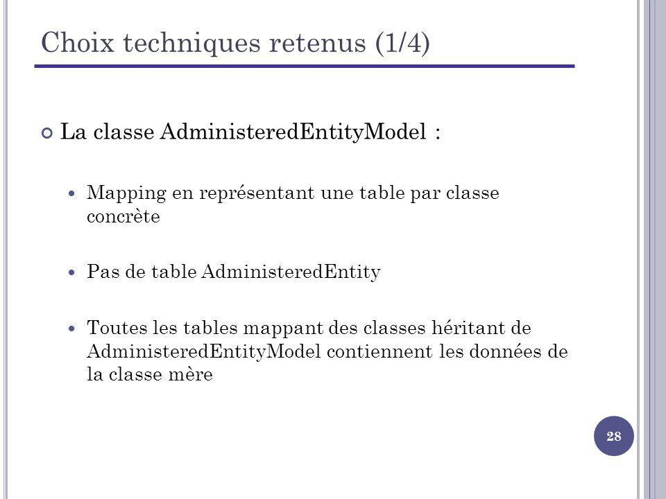 28 Choix techniques retenus (1/4) La classe AdministeredEntityModel : Mapping en représentant une table par classe concrète Pas de table AdministeredEntity Toutes les tables mappant des classes héritant de AdministeredEntityModel contiennent les données de la classe mère