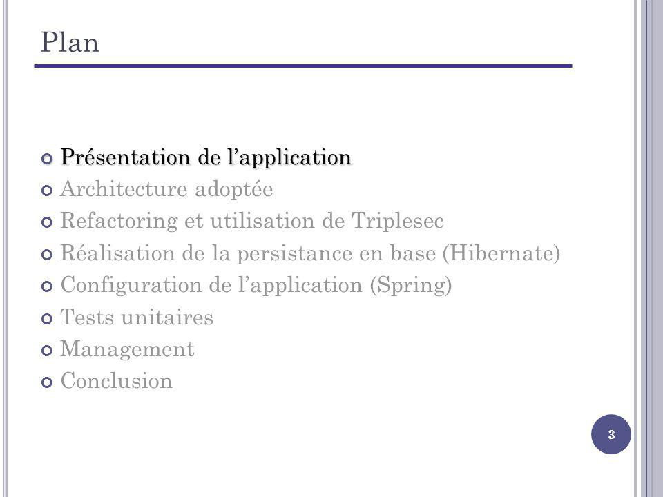24 Plan Présentation de lapplication Architecture adoptée Refactoring et utilisation de Triplesec Réalisation de la persistance en base (Hibernate) Réalisation de la persistance en base (Hibernate) Configuration de lapplication (Spring) Tests unitaires Management Conclusion