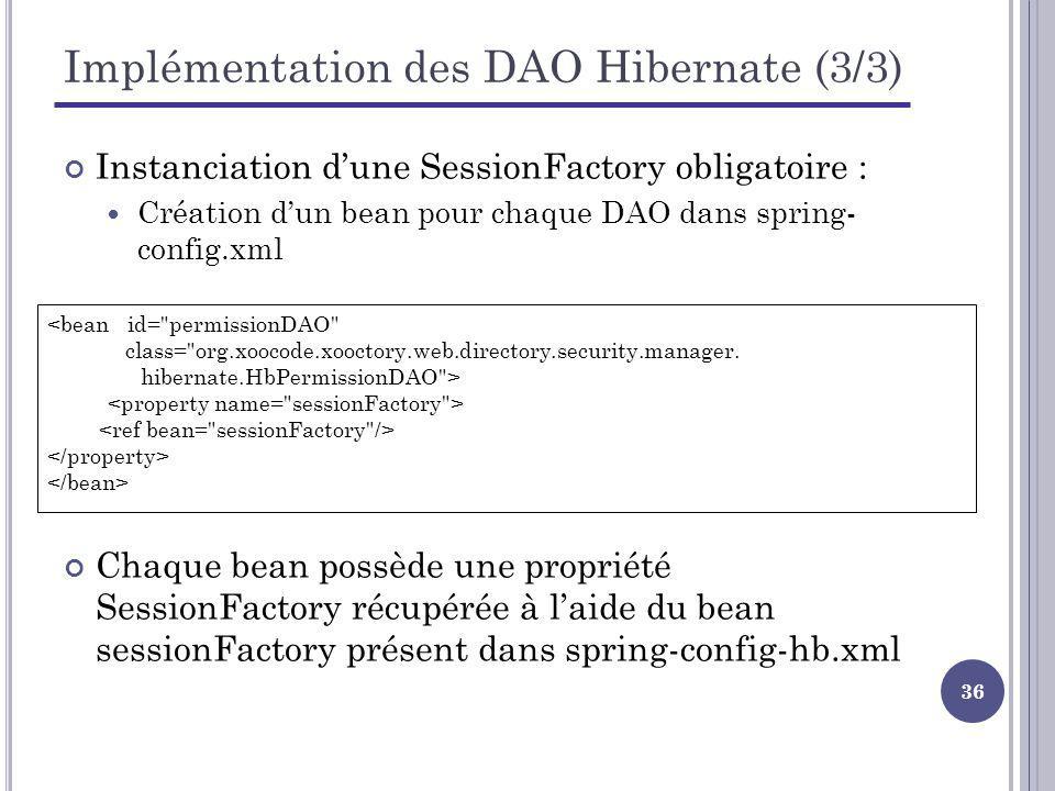 36 Implémentation des DAO Hibernate (3/3) Instanciation dune SessionFactory obligatoire : Création dun bean pour chaque DAO dans spring- config.xml <bean id= permissionDAO class= org.xoocode.xooctory.web.directory.security.manager.