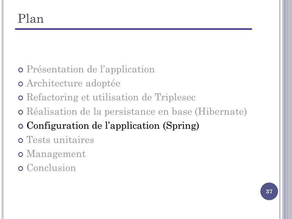 37 Plan Présentation de lapplication Architecture adoptée Refactoring et utilisation de Triplesec Réalisation de la persistance en base (Hibernate) Configuration de lapplication (Spring) Configuration de lapplication (Spring) Tests unitaires Management Conclusion