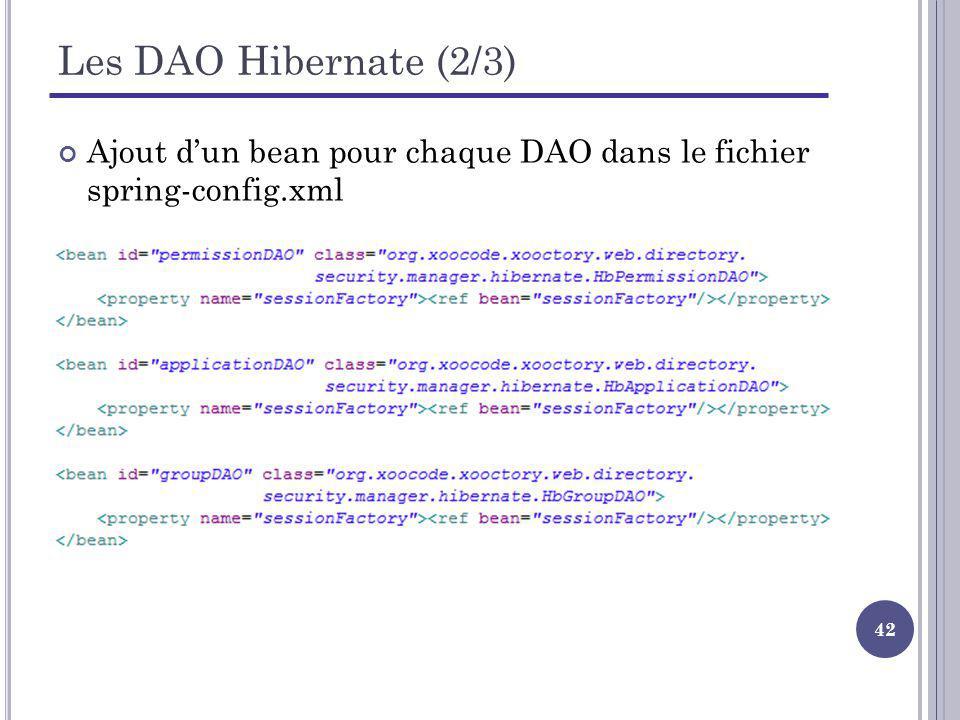 42 Les DAO Hibernate (2/3) Ajout dun bean pour chaque DAO dans le fichier spring-config.xml
