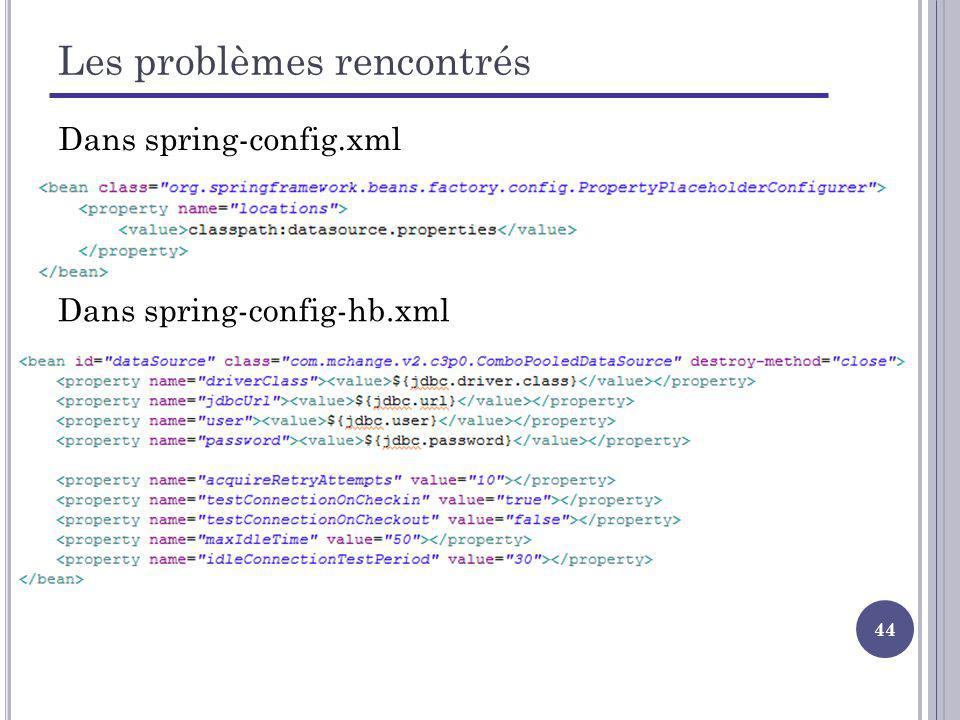 44 Les problèmes rencontrés Dans spring-config-hb.xml Dans spring-config.xml