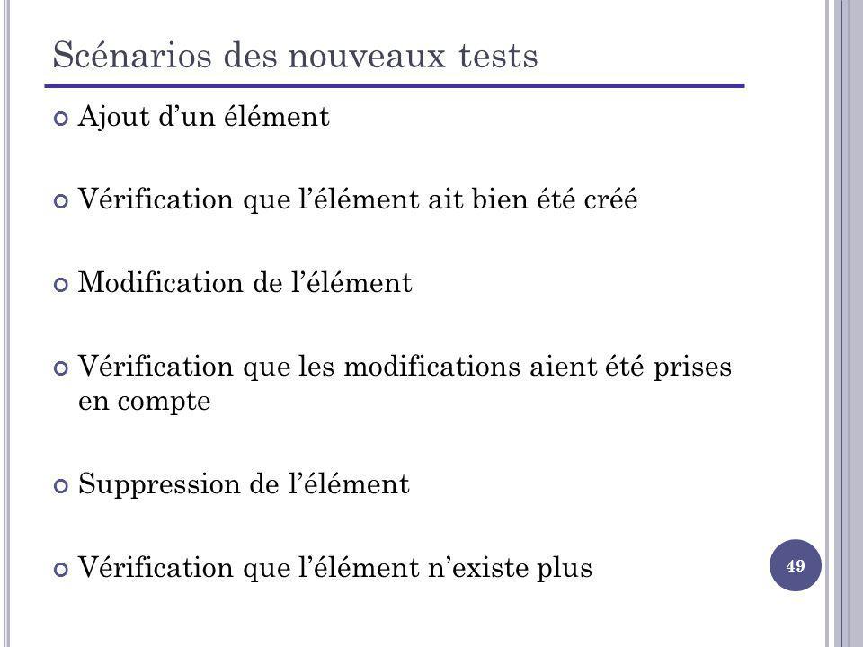 49 Scénarios des nouveaux tests Ajout dun élément Vérification que lélément ait bien été créé Modification de lélément Vérification que les modificati