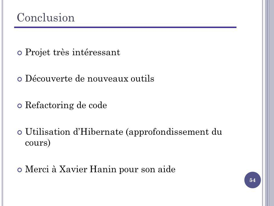 54 Conclusion Projet très intéressant Découverte de nouveaux outils Refactoring de code Utilisation dHibernate (approfondissement du cours) Merci à Xavier Hanin pour son aide