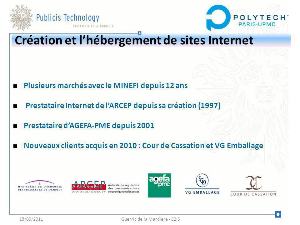 17 Création et lhébergement de sites Internet Plusieurs marchés avec le MINEFI depuis 12 ans Prestataire Internet de lARCEP depuis sa création (1997)