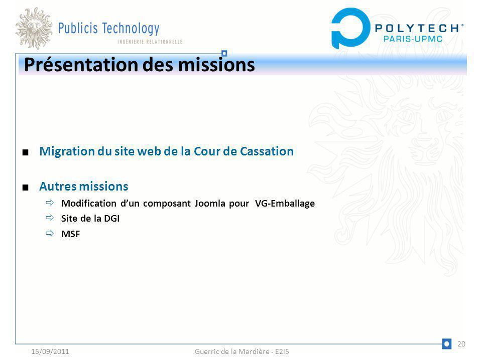 Présentation des missions Migration du site web de la Cour de Cassation Autres missions Modification dun composant Joomla pour VG-Emballage Site de la