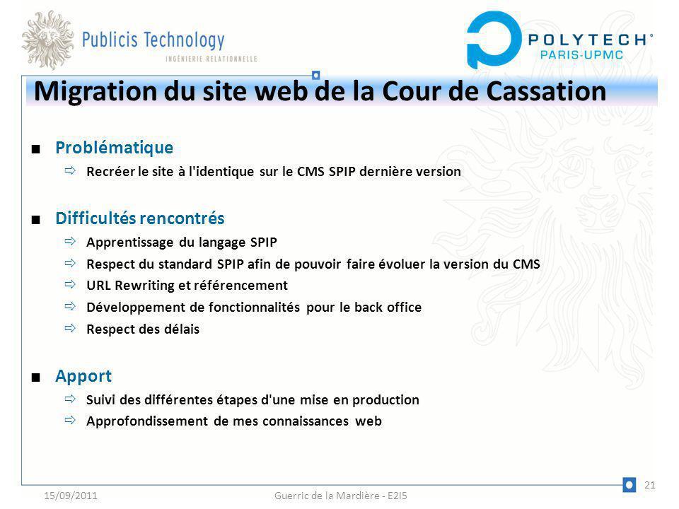 Migration du site web de la Cour de Cassation Problématique Recréer le site à l'identique sur le CMS SPIP dernière version Difficultés rencontrés Appr