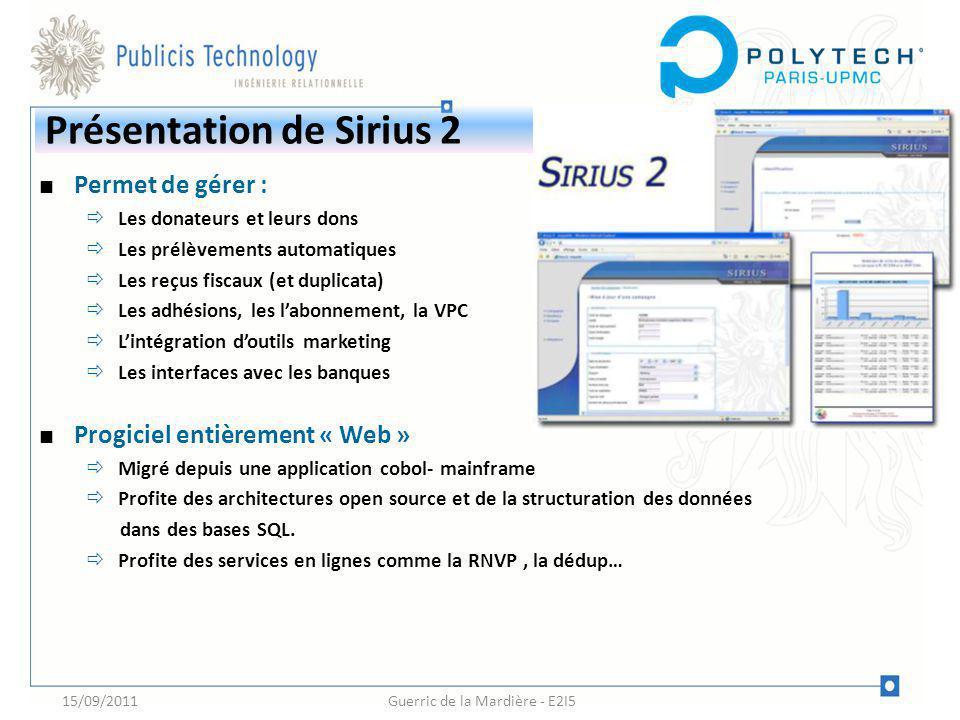 Guerric de la Mardière - E2I5 Présentation de Sirius 2 Permet de gérer : Les donateurs et leurs dons Les prélèvements automatiques Les reçus fiscaux (